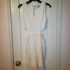 White Lace Dress with Middle Cut